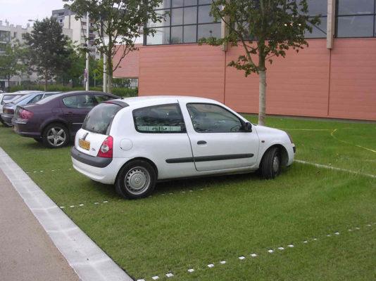 Zatravňovací dlažba ECORASTER pro parkovací místo.